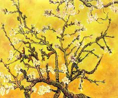 Van Gogh Branches of an Almond Tree in Blossom - Artist Interpretation in Yellow - Canvas Art & Reproduction Oil Paintings