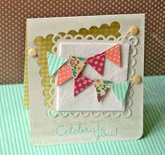 Sewn Banner Celebrate You Card by Danielle Flanders for Papertrey Ink (June 2012)