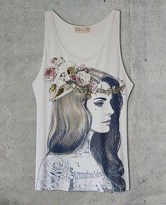 Lana Del Rey Tattoo Off White Tank Top Shirt