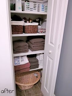 Organized Linen Closet.....This is how my Mom's linen closet ALWAYS looked.....The bar was set high!