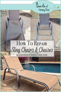 Often old sling chairs or chaises become worn or torn. See how to repair sling chairs and chaises at Queen Bee of Honey Dos. Pool Chairs, Lawn Chairs, Outdoor Chairs, Beach Chairs, Fur Chairs, Dining Chairs, Outdoor Pallet, Outdoor Fabric, Chair Repair