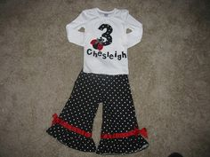 Ladybug birthday outfit by BitsyBitDesigns on Etsy, $39.00