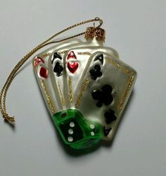 Aces Playing Cards & Dice Casino Gambling Glass Christmas Tree Ornament