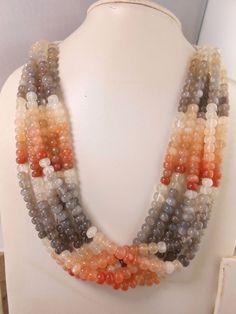 "14"" Natural Multi Color Moonstone Smooth Rondelle Gemstone Beads 7mm  #GemstoneTopper #Smooth # Multi color moonstone #Grey Peach Beads # Gemstone Beads # Jewelry #Semi Multi Beads"