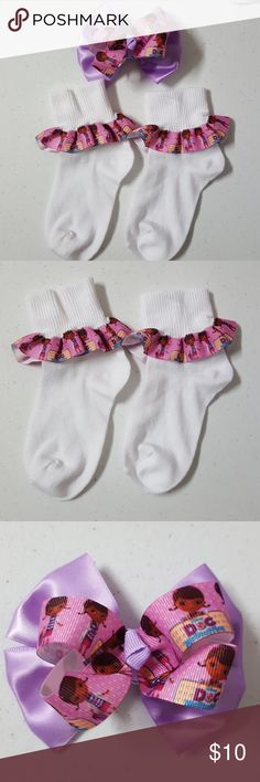 "Handmade Doc McStuffins socks/hairbow Shoe size:3_10(5"") Handmade Accessories Socks & Tights"