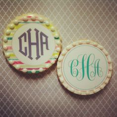 Fashionably Sweet Treats Monogram Cookies are perfect for wedding favors, party favors, baby showers or engagement parties!  Fashionably Sweet Treats will work with you to design your personalized monogram cookies to fit your party's colors, theme and budget! #FashionablySweetTreatsCustomCookies #FashionablySweetTreatsMonogramCookies #WeddingFavor #EngagementParty #WeddingReception