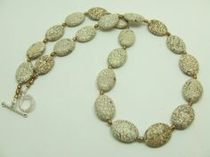 white turquoise and golden rice pearls necklace.  www.ayadesigns.artfire.com
