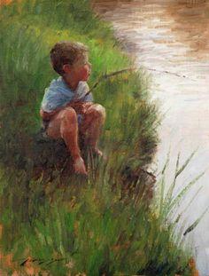 little boy fishing . By Trent Gudmundsen Boy Fishing, Fishing World, Fishing Places, Beginner Painting, Country Art, Fish Art, Art Themes, Painting Techniques, Art World