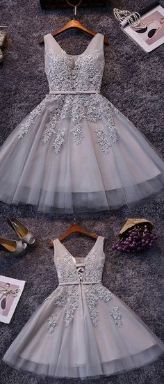 Short Grey Homecoming Prom Dresses With Beaded/Beading Lace Up Mini Morden