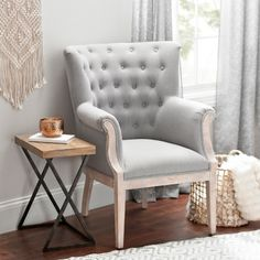 Rachel Linen Slate Accent Chair Industrial Farmhouse f335255eb3b0b