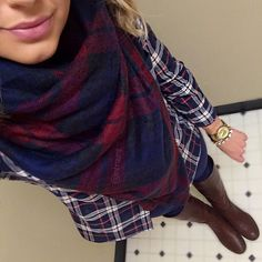 F21 Blanket scarf, Jcrew plaid button down, Tory Burch riding boots || instagram.com/mbrauns