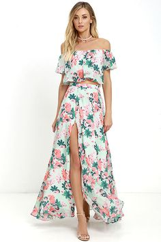 """Exclusive print, only at Lulus! We're making room in our closet for the Bloom for Two Mint Floral Print Two-Piece Maxi Dress! Pink and green floral print blooms across mint green chiffon as it shapes an off-the-shoulder crop top with an elasticized neck and hem. Pair with the high-waisted maxi skirt with elastic at back, and side slit. Hidden back zipper. Small top measures 11"""" long. Small bottom measures 43"""" long."""