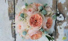 Ramo de novia con rosas David Austin en tono melocotón, rosas Juliet. Mayula Flores