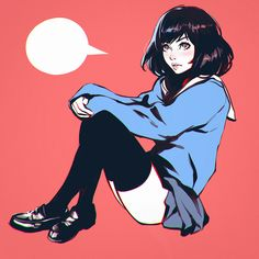 "kuvshinov-ilya: ""It's 'Knee-High Day' in Japan! Anime Art Girl, Manga Art, Manga Anime, Aesthetic Art, Aesthetic Anime, Kuvshinov Ilya, Character Art, Character Design, Pretty Art"