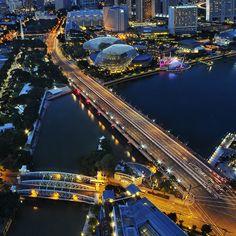 Bridges & Highway merging @ Marina Bay...    An aerial view from Maybank Tower. The Anderson Bridge and Esplanade Drive merging at Marina Bay...