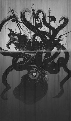 The kraken, a mythical creature believed by sailors to pull ships and their crew under to their deaths