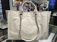 Chanel Ivory Leather Deauville Tote Bag
