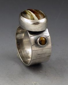 Michele Grady Designs  |  Sterling Silver, Tiger Iron and Tiger Eye Ring.