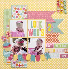 #papercraft #scrapbook #layout Look Who's 2 Layout