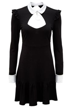 Mystic Mia Collar Dress [B] | KILLSTAR If you spin passion and darkness into a thread, you get the love-child 'Mystic Mia'; softest lush jersey in a flattering shape, sharp contrasting collar+cuffs and easy in-and-out button on the back, accent ruffles and detachable moon-charm. A stylish yet simple statement piece that is oh-so-versatile. Dressed up within a minute - or simple everyday-glam for you, Miss Addams?