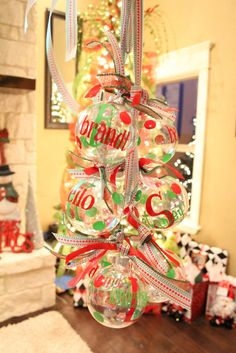 DIY Vinyl Ornament Gift Idea--I must do these, but with a more adult flair for friends' Christmas gifts. These are adorable.
