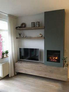Wohnzimmer Ideen Media wall, shelving, TV, inset fire, stove Kitchen Improvements - Enjoy Now and Wh New Living Room, Interior Design Living Room, Home And Living, Living Room Designs, Living Room Decor, Muebles Living, Fireplace Design, Inset Fireplace, Fireplace Tv Wall