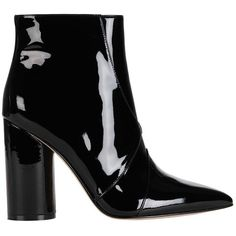 Sigerson Morrison Women's Knox Pointy Toe Patent Leather Bootie ($450) ❤ liked on Polyvore featuring shoes, boots, ankle booties, black, pointed toe booties, black patent leather booties, black bootie, chunky black booties and ankle boots
