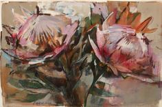Proteas Hialrygrant-currie Protea Art, Protea Flower, Naive Art, Flower Images, Watercolor Flowers, Watercolour, Pictures To Paint, Beautiful Paintings, Art World