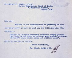 Letter confirming sinking of RMS Titanic 16 April 1912