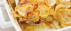 Patatas gratinadas con puerro y queso