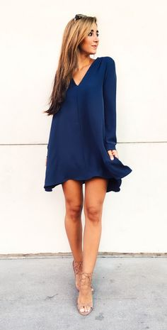 Fall Little Blue Dress