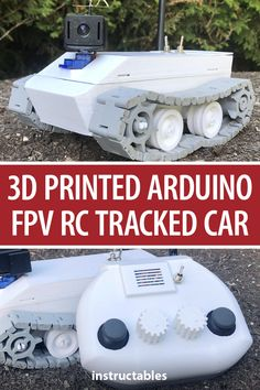 This tracked car is 3D printed, powered by Arduino, has FPV and has a remote control. #Instructables #electronics #technology #3Dprint #microcontroller Rc Controller, Rc Track, Bike Challenge, Cad Programs, Local Library, Going To Work, Arduino, Fallout, Robots