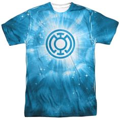 Green Lantern/Blue Energy Short Sleeve Adult 100-percent Crew in