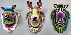 animal wall trophy crochet free pattern - Google Search