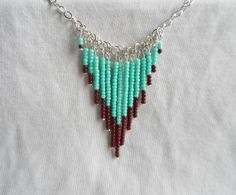 Turquoise & Brown Beaded Drop Necklace