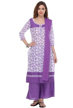 Light #Purple And #White #Cotton #Palazzo #Suit #nikvik  #usa #designer #australia #canada #freeshipping #fashion #dress #sarees #sale