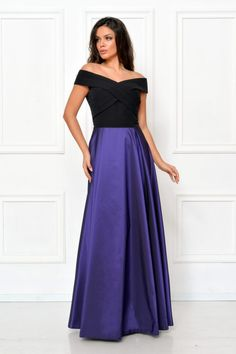 rochie lunga tafta albastra - rochii de seara lungi