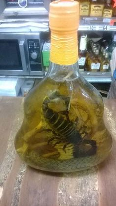 Tequila with a little worm!!??? Pffft!!!  I rather have one with scorpion and cobra!! Hahaha ... I guess that is called getting buzzed the animal way!!!