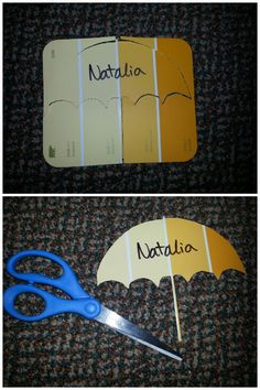 Free door decs with Paint Cards from Menards, Home Depot, or any paint store. Cut out an umbrella, rainboots, hearts, ANY SHAPE.