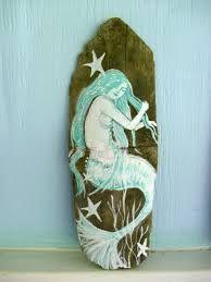 hand painted on wood Mermaid Home Decor, Mermaid Crafts, Mermaid Beach, Mermaid Diy, Mermaid Salon, Coastal Bathroom Decor, Coastal Decor, Westerns, Painted Driftwood
