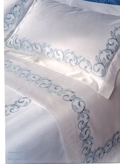 me ~ Dea Marina Embroidered Italian Bedding; custom embroidered sheets, pillowcases, shams, duvet covers and piquet coverlets Draps Design, Embroidered Bedding, Linens And Lace, Fine Linens, Hand Embroidery Designs, Custom Embroidery, Luxury Bedding, Luxury Linens, Linen Bedding