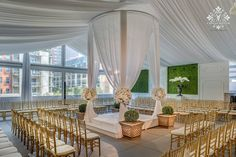 White and Boxwood wedding in the round, draped fabric wedding ceremony