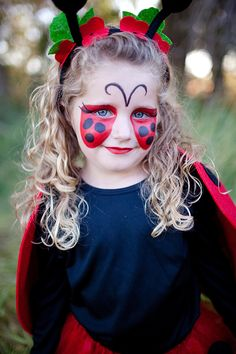 cute + easy kids Halloween face paint ideas. love this lady bug look! #halloween #kidshalloweencostumes                                                                                                                                                                                 More
