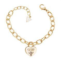 Guess-Armband gold herzförmiges Schloss UBB21568 http://www.thejewellershop.com/ #guess #armband #bracelet #gold #steel #heart #herz #jewelry #schmuck