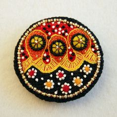 Embroidered cross stitch Brooch abstract pattern abstract