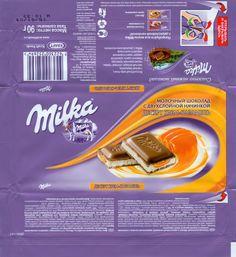 Milka, milk chocolate filled with caramel flavoured cream, Kraft Foods Russia, Pokrov, Russia Food Packaging Design, Print Packaging, Packaging Design Inspiration, Barbie Food, Doll Food, Label Design, Box Design, Kraft Foods, Blister Packaging