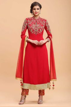 Red Chiffon Straight Suit Paint  http://www.andaazfashion.com.my/salwar-kameez/trouser-suits/red-chiffon-straight-suit-paint-1685.html