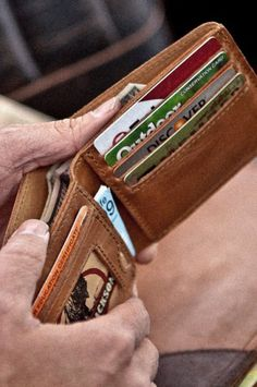 Side View of Men's Leather Wallet with 4 Credit Card Slots