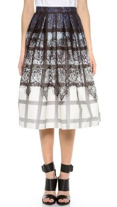 Tibi Lace Plaid Ombre Skirt worn by Evelyn Powell on Devious Maids