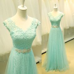 V-Neck Cap Sleeve Lace Evening Dresses 2015 Crystal Lace Up Prom Gowns